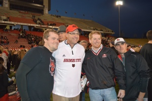 Gus Malzahn with fans after Saturday night's championship.