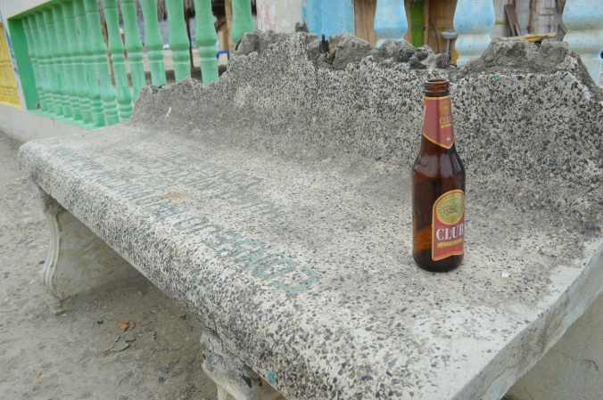 A lone beer, likely remaining from all the beach-side New Year celebrations.