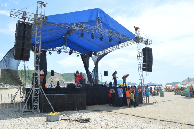 This may not be so impressive to you, but when a stage like this goes up on the beach in Puerto Cayo, a serious (and very loud)  party is only hours away. Ecuadorians take their party music very seriously.