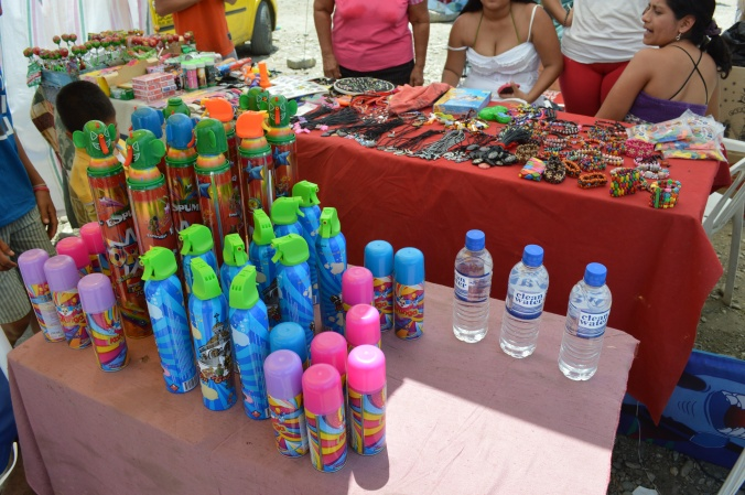 Carnival is a time when it's pretty much okay for young children to pull pranks... water guns, water balloons, etc. The diablitos (little devils) also purchase this colored foam to spray on unsuspecting victims.