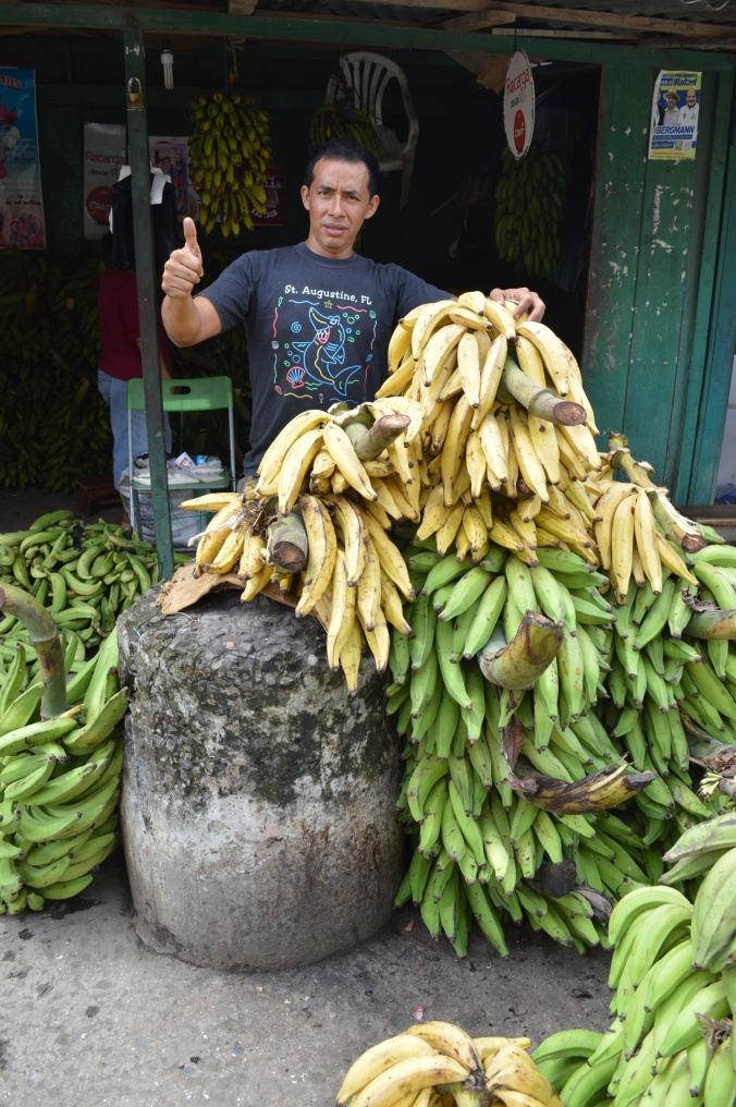 When a gringo walks down the street with a Nikon around his neck, everybody wants their photo taken. I obliged this local banana and plantain entrepreneur.
