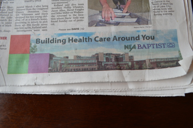 This is the paid advertisement that creates the conflict of interest on today's front page of The Jonesboro Sun.