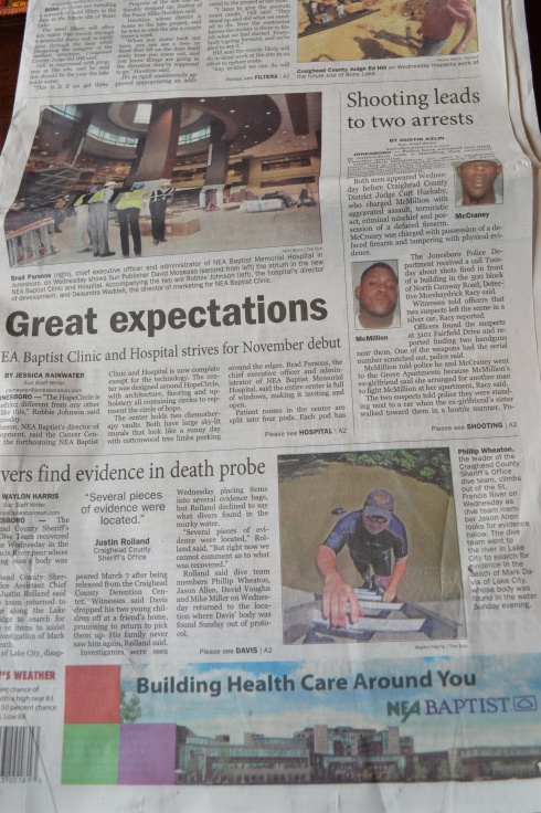 A broader perspective of the May 30, 2013, front page of The Jonesboro Sun and the proximity of the paid advertisement (at bottom) to a related news story headlined Great Expectations.