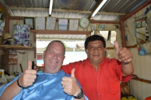 Me, getting a much needed and first haircut in Latin America. My barber, Antonio, shows the approval of his handiwork.