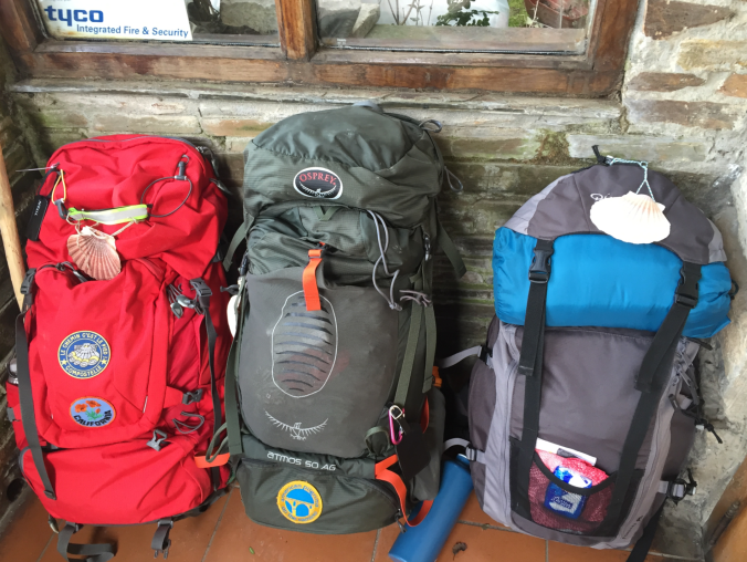 Our backpacks at a resting point in O Cebreiro.