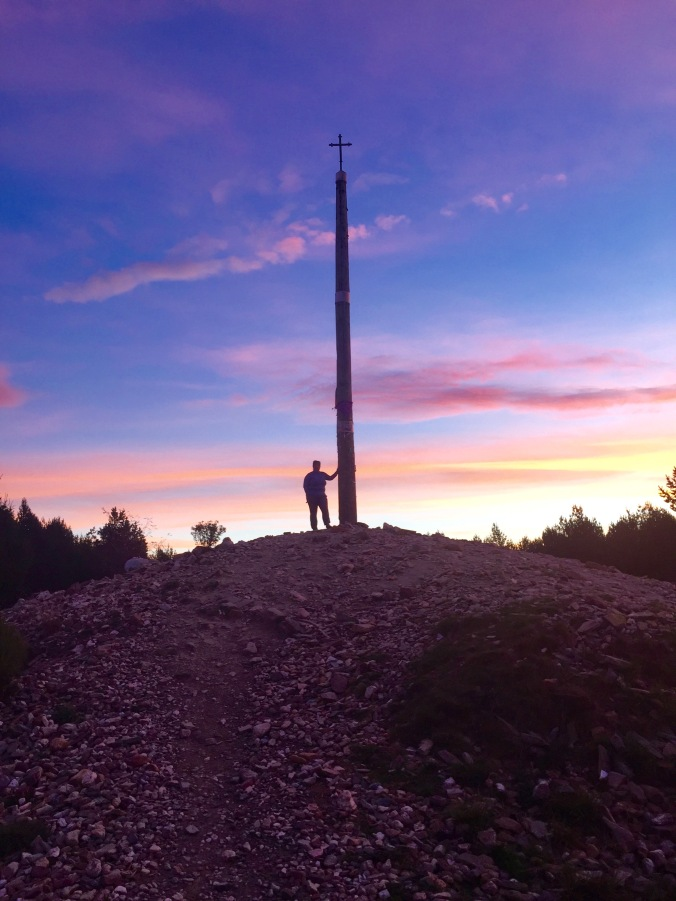 Dana at daybreak at Cruz de Ferro. It was amazing to watch the sun bring the morning light and I was lucky to get this shot. The light at this elevation is amazing. If I were in charge of Foncebadon I'd rename it Fuego del Cielo (fire from heaven).