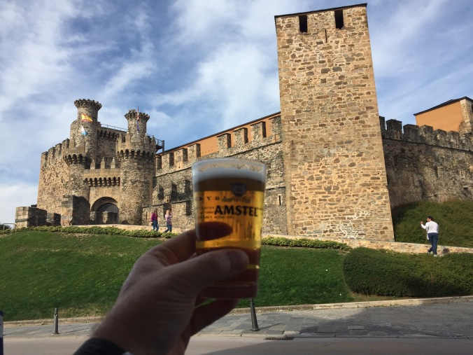 A toast to ourselves at a little bar in Ponferrada at the Castle of the Knights Templar.