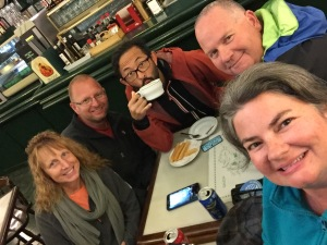 Coffee with new friends in Santiago - Steve, Darla and Andrew.