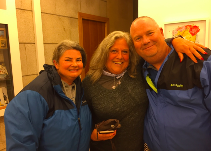 Dana and I, meeting our friend Kathy McKleskey in Santiago de Compostela last November. We'd been social media friends for a year, but this was our first time to meet personally ... of all places.